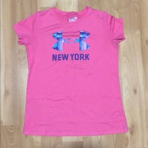 NWOT GIRLS SMALL UNDER ARMOUR PINK NEW YORK SHIRT